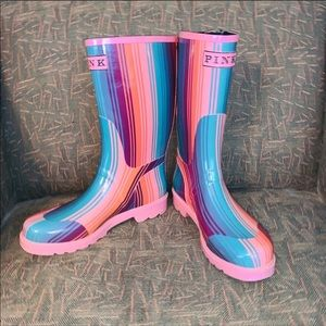 PINK Rainbow Striped Rain Boots. Size 7